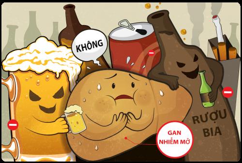 Người mắc bệnh gan nhiễm mỡ cần kiêng rượu bia và các thực phẩm dầu mỡ
